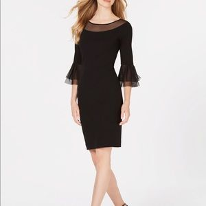 Calvin Klein Womens Illusion Sleeve Sheath Dress
